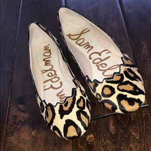 Sam Edelman Leopard Print Scallop Flats. Size 7